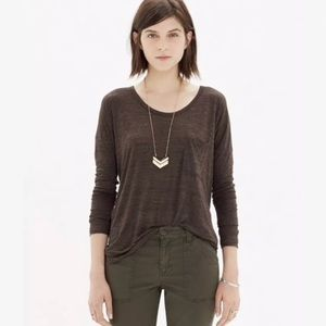 Madewell Scoop Neck Roster Tee M Brown Long Sleeve